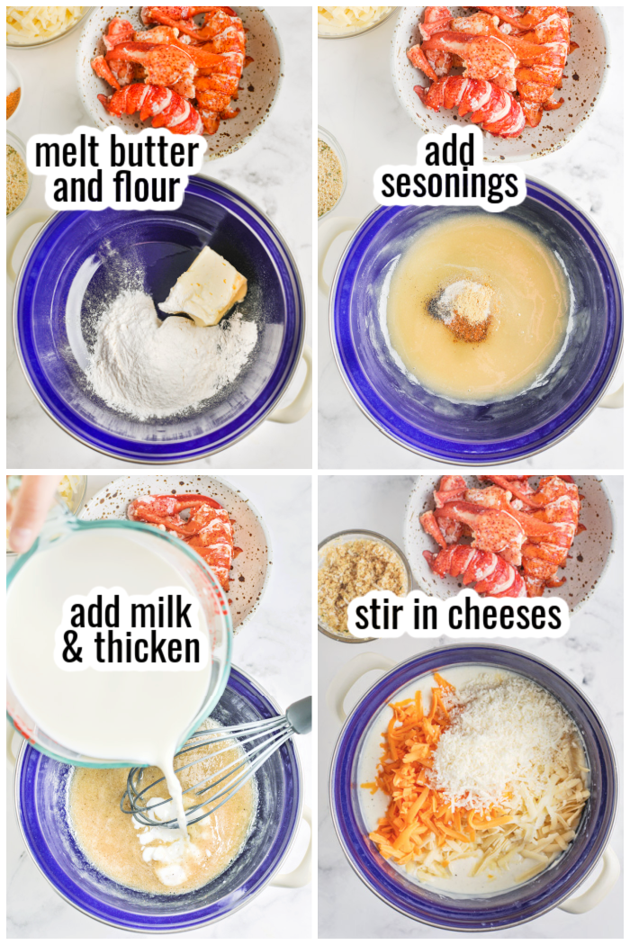steps for making cheese sauce for lobster mac and cheese