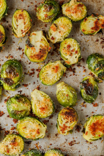 cooked Crispy Roasted Brussels Sprouts on a baking sheet
