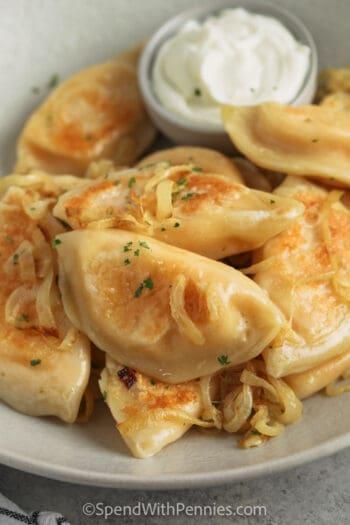 close up of plated Homemade Pierogies