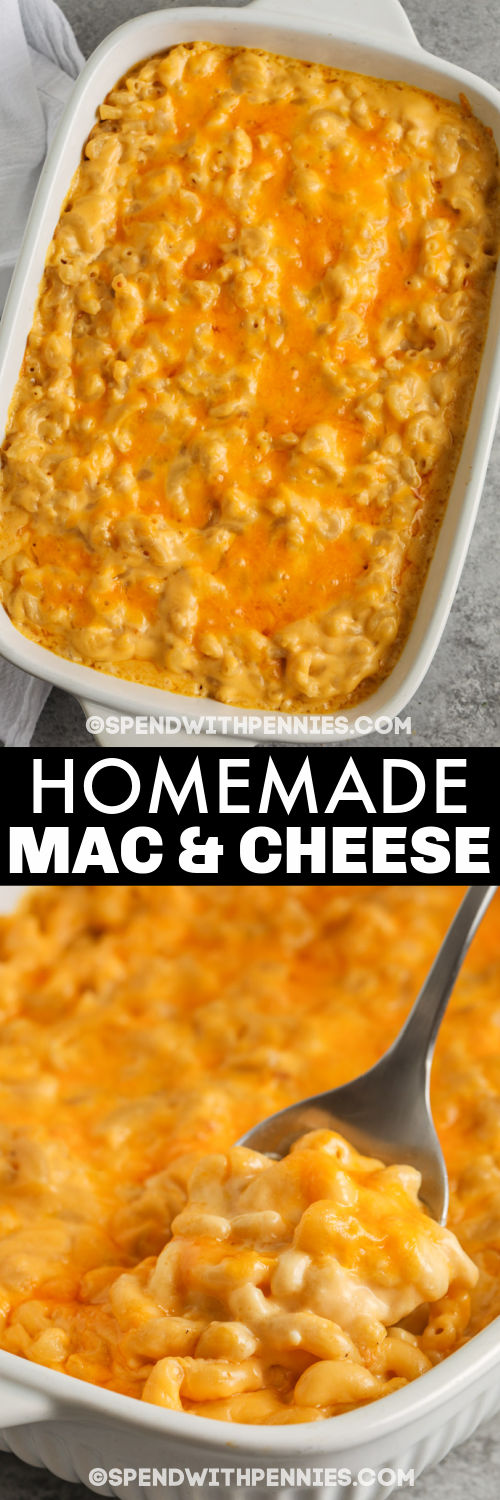 cooked Homemade Mac and Cheese Casserole in the dish and taking a spoon full out with a title