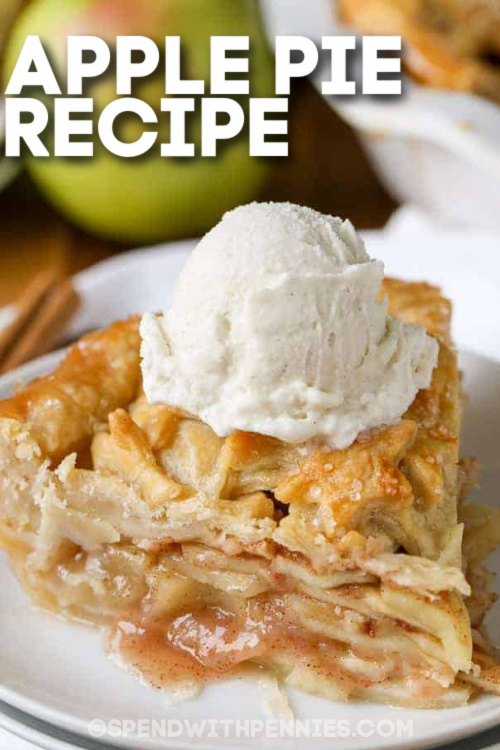 A slice of apple pie with text
