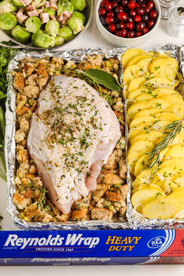 Turkey and potatoes on a sheet pan