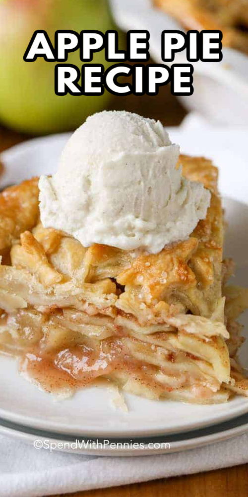 A slice of apple pie topped with ice cream with text