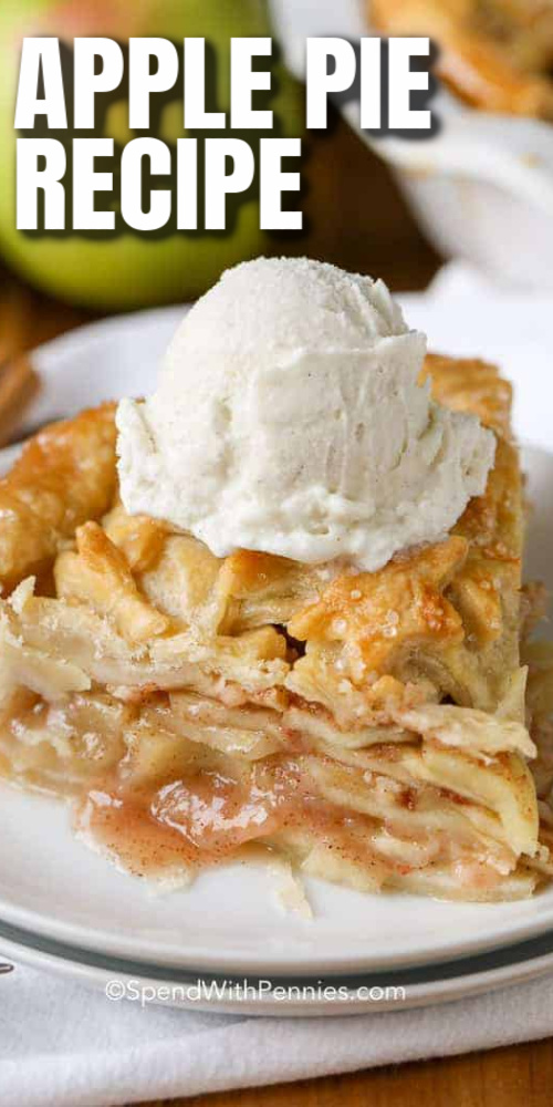 A slice of apple pie with ice cream with text