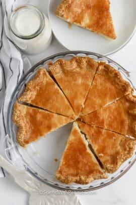 Buttermilk Pie sliced in a pie plate