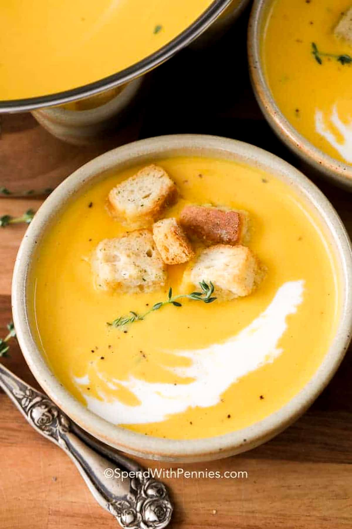 Butternut squash soup with croutons in a bowl