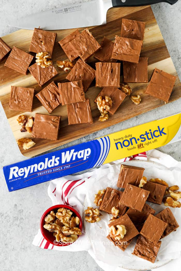 Fantasy Fudge cut into squares with reynolds wrap
