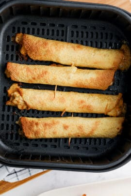 cooked Jalapeno Air Fryer Taquitos in the air fryer