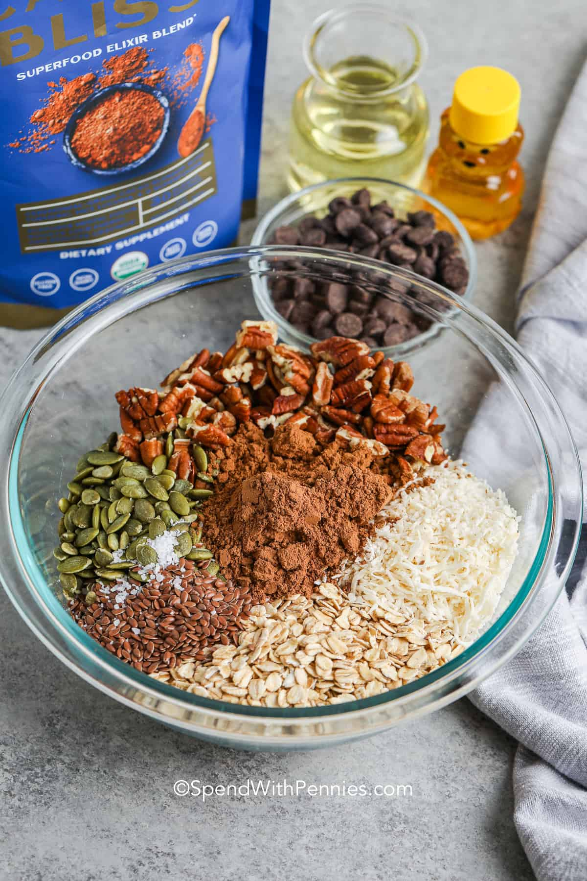 ingredients for chocolate granola in a bowl
