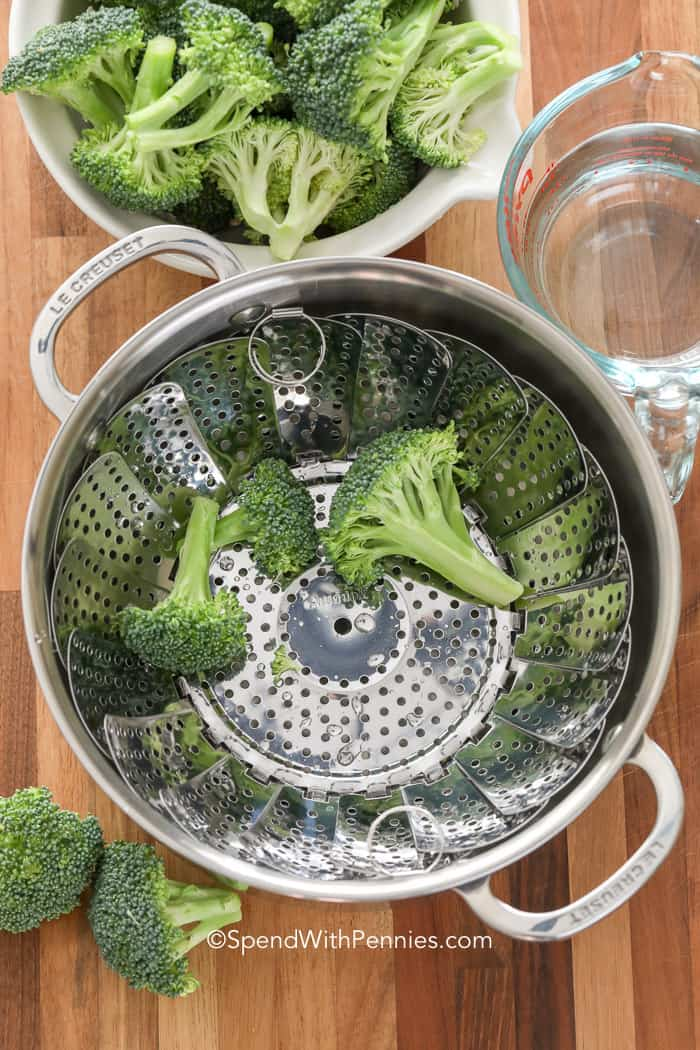 tools needed to steam broccoli including water, steamer basket and a pot.