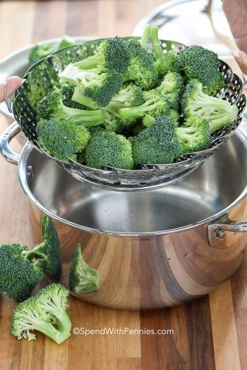 broccoli in steamer basket